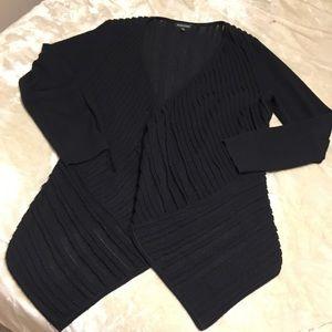 Eileen Fisher black waterfall open cardigan XL